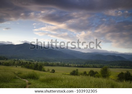 Cades Cove Field - Great Smoky Mountain National Park - stock photo