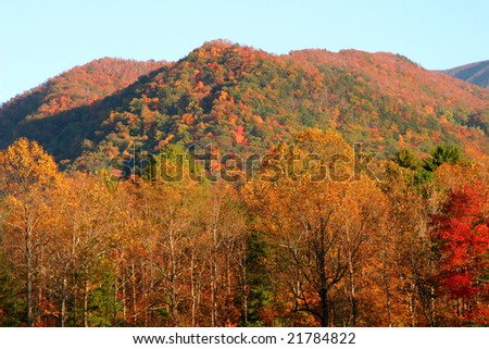 Cades Cove in fall colors. Great Smoky Mountains - stock photo