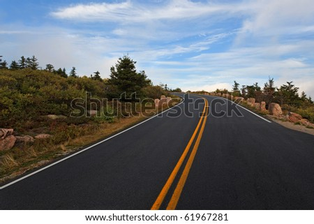 Cadillac mountain road, a spur from the park loop road - stock photo
