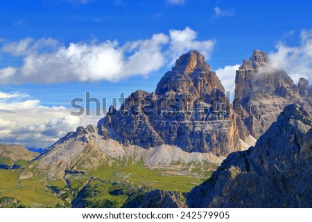 Cadini di Misurina and Tre Cime di Lavaredo at sunset, Dolomite Alps, Italy