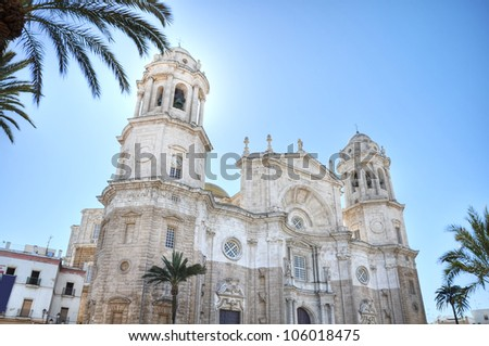 Cadiz cathedral,is a Roman Catholic church in C�¡diz, southern Spain.It sits on the site of an older cathedral, completed in 1260, which burned down in 1596. - stock photo