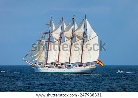 CADIZ, SPAIN - APR 01: Spanish Navy Training Ship, Juan Sebastian de Elcano setting sail on the 83rd cruise of instruction with 69 midshipmen on April 01 , 2012, in Cadiz , Spain - stock photo