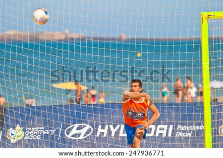 CADIZ, SPAIN -  JUL 22:  Unknown goalkeeper of unknown team playing the Spanish Championship of Beach Soccer on Jul 22, 2006 on the beach of La Victoria in Cadiz, Spain - stock photo