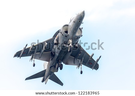 CADIZ, SPAIN-SEP 13: Aircraft AV-8B Harrier Plus taking part in an exhibition on the 2nd airshow of Cadiz on Sep 13, 2009, in Cadiz, Spain
