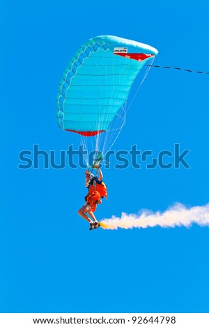 CADIZ, SPAIN-SEPT 11: Parachutist Rex  Pemberton taking part in the 4th airshow of Cadiz on Sept 11, 2011, in Cadiz, Spain