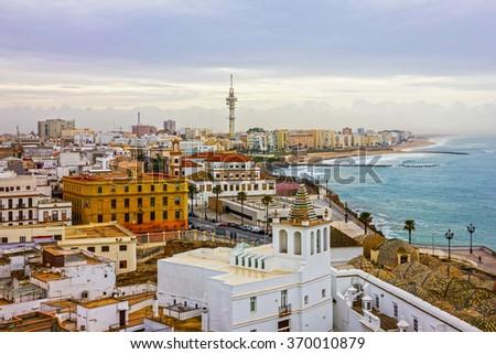 Cadiz town panoramic view, Spain - stock photo