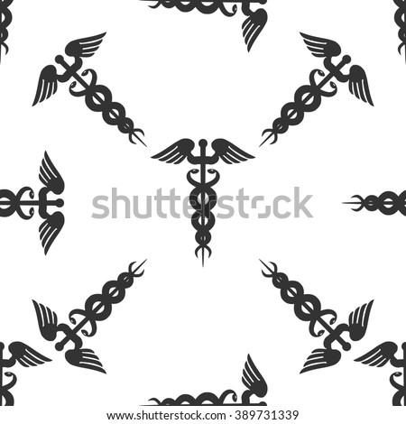 Caduceus medical symbol icon seamless pattern on white background - stock photo