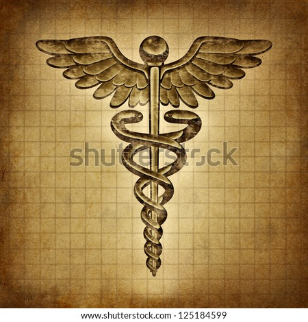 Caduceus on an old grunge parchment document as a vintage medical symbol and health care and medicine icon with snakes crawling on a pole with wings as a pharmacy medicine concept. - stock photo