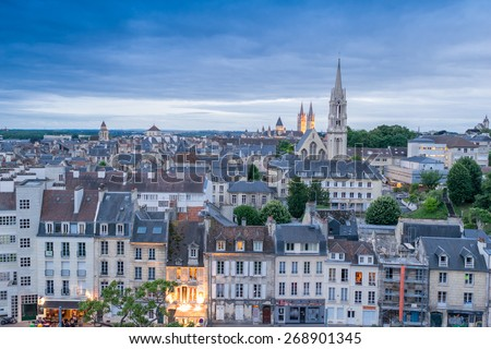 Caen aerial cityscape, Normandy - France. - stock photo