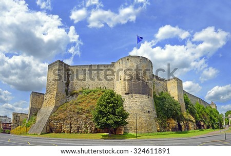 Caen Castle - 1060, William of Normandy established a new stronghold in Caen. Chateau de Caen castle in the Norman town of Caen in the Calvados departement in Basse Normandie. Normandy, France - stock photo
