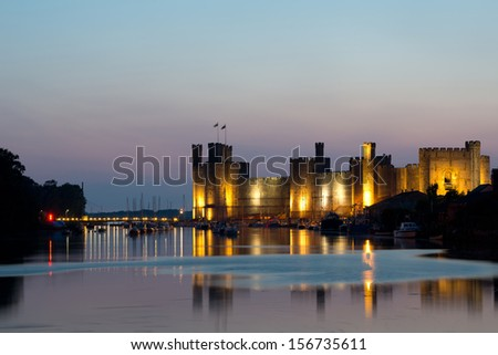 Caernarfon castle , North Wales - stock photo