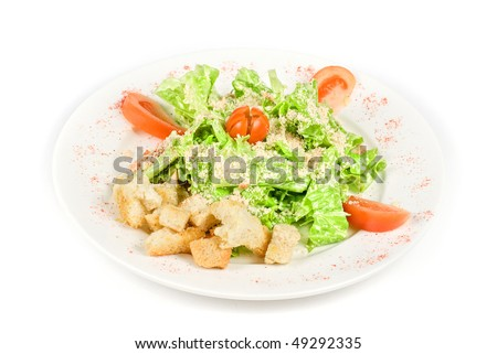 Caesar salad dish isolated on a white background - stock photo