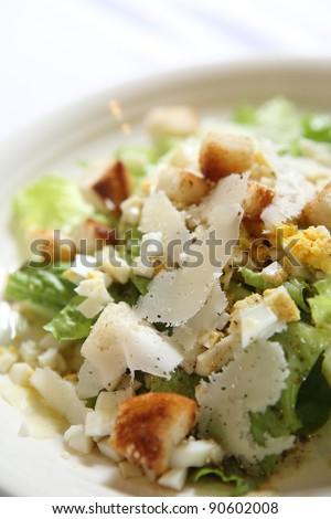 Caesar salad in close up - stock photo
