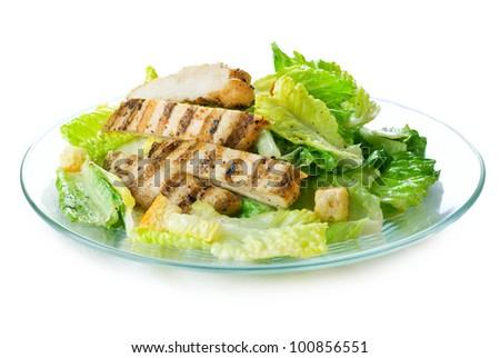 Caesar Salad isolated on White - stock photo