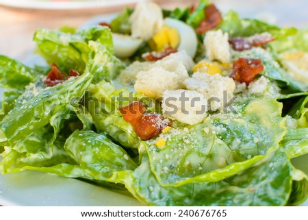 caesar salad with egg and bacon. - stock photo