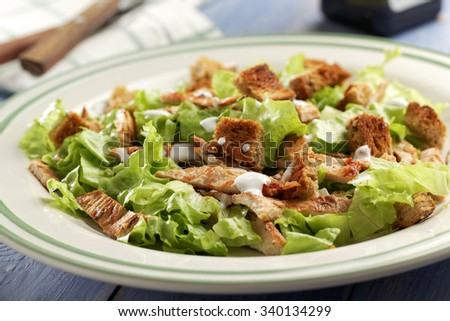 Caesar salad with lettuce, croutons, turkey meat, and mayonnaise - stock photo