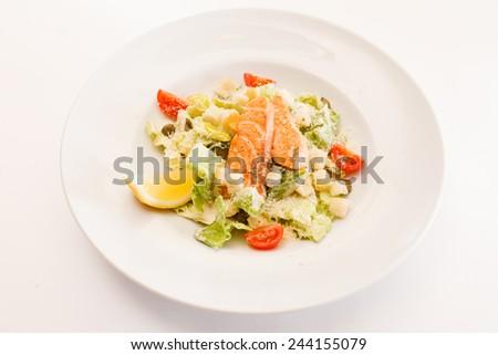 caesar salad with salmon - stock photo