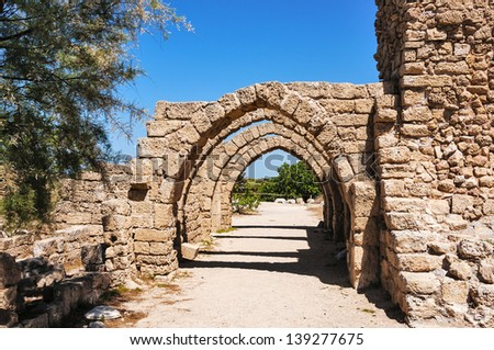 Caesarea is a town in Israel, the ancient port city. It is located between Tel Aviv and Haifa, near the city Hadera. - stock photo