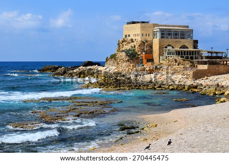 Caesarea, Israel - march 19 : ancient port  in Caesarea Maritima, march 19, 2015 Caesarea, Israel. harbor was built by Herod the Great at mediterranean coast of Israel - stock photo