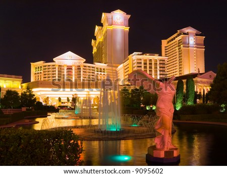 Caesars Palace in Las Vegas at night - stock photo