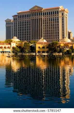 Caesars Palace in Las Vegas at sunset - stock photo