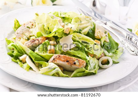 Caeser Salad with chicken fillet - stock photo