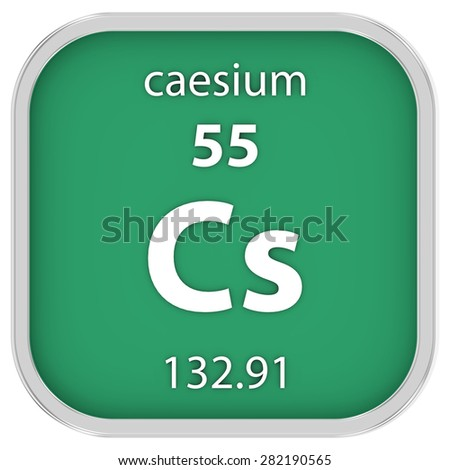Caesium material on the periodic table. Part of a series. - stock photo