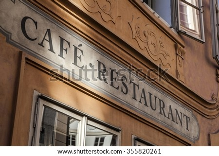 Cafe and restaurant inscription in Prague, Czech Republic