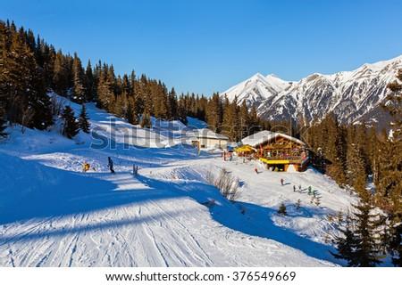 Cafe at Mountains ski resort Bad Gastein Austria - nature and sport background - stock photo