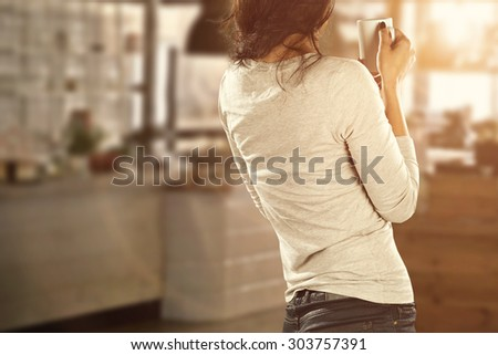 cafe bar interior and young woman  - stock photo