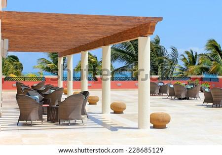 Cafe bar on the tropical beach - stock photo