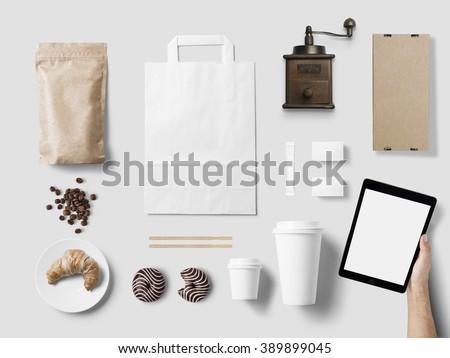 Cafe branding mock up for your design presentation - stock photo