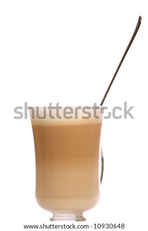 Cafe Coffee Latte in a glass with sugar