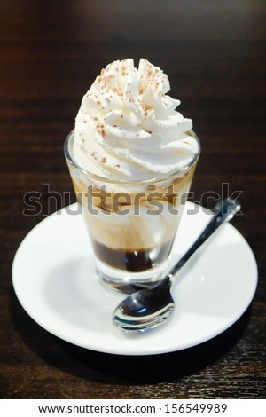 Cafe Con Pana : Espresso with whipping cream - stock photo