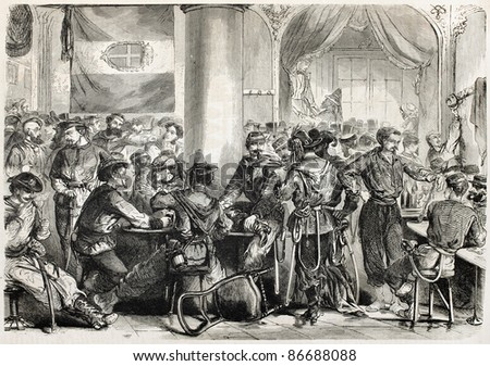 Cafe Europe old illustration, Naples, Italy. Created by Dessauville, published on L'Illustration, Journal Universel, Paris, 1860 - stock photo