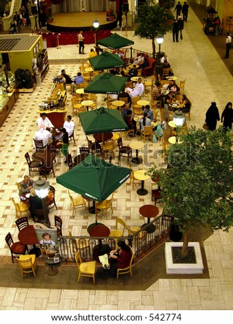 Cafe in a mall in dubai - stock photo
