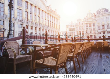 cafe in Brussels, Belgium - stock photo
