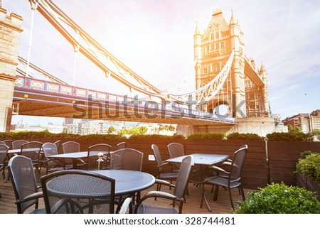 cafe in London in sunny day - stock photo
