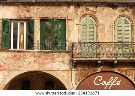 Cafe in the beautiful old building, city of Verona, Italy - stock photo