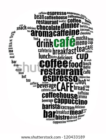 Cafe info-text graphics and arrangement concept (word cloud) on white background - stock photo