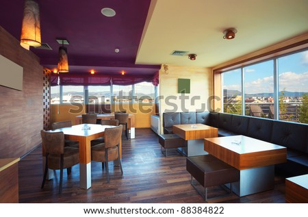 Cafe interior during day, modern and simple decoration. - stock photo
