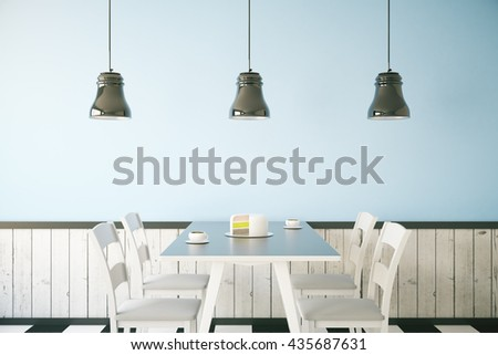 Cafe interior with cake and two coffee cups on table, light blue wall and three ceiling lamps. 3D Rendering - stock photo