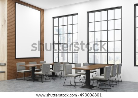 Cafe interior with two rectangular tables surrounded with chairs and large windows. Huge vertical poster is hanging on the wall. Concept of business lunch. 3d rendering. Mock up