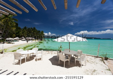 Cafe located on the beautiful beach - stock photo