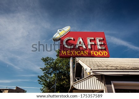 Cafe mexican food sign along historic Route 66 in Arizona. Vintage Processing.