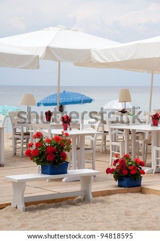 Cafe on the beach - stock photo