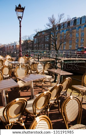 cafe on the street in Amsterdam - stock photo