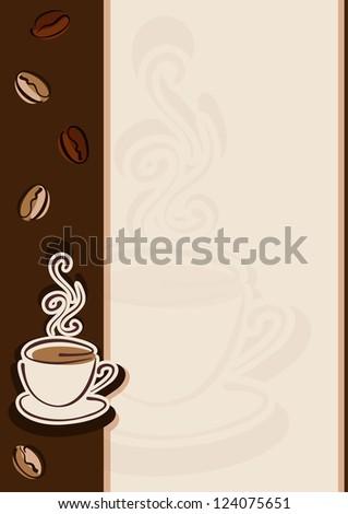 Cafe or restaurant card for coffee menu. Cup of hot coffee and coffee beans. Raster illustration. Vector file included in portfolio - stock photo