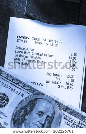 Cafe paper cheque with dollars - stock photo