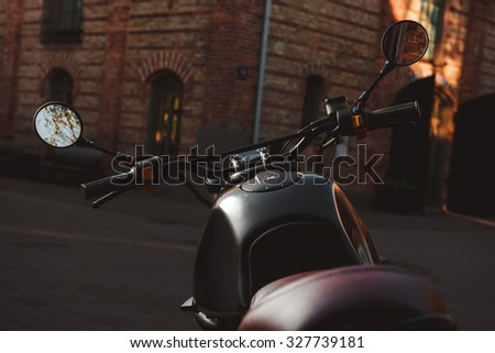 Cafe-racer motorcycle outdoor - stock photo
